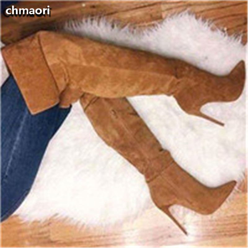 New Arrival High Quality Suede Leather Pointed Toe Long Boots Sexy Over The Knee High Heel Boots Winter Thigh High Boots Women