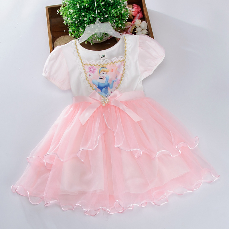 цена на Disney children's summer cartoon lace striped dress Cinderella princess dress girls snow white dress new dress