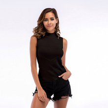 Turtle Neck knit sleeveless tank tops women bottoming Ribbed vest female 2019 summer Fashion Solid Knitwear Top shirts Female solid ribbed knit roll neck jumper