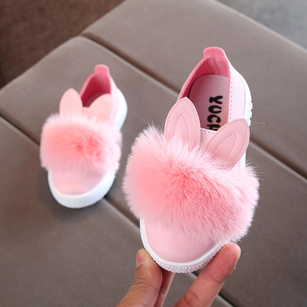 Kids Leather Single Shoes Cute Toddlers Baby Girls Rabbit Ear Pompom Shoes for Children