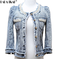 Women Pearl Jacket Distressed Short Denim Coat Fringe Jeans Women's Jacket Beading Denim Jackets Outerwear TOP354 -5