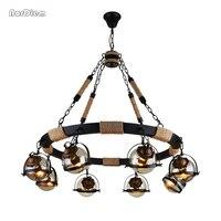 Винтаж волшебные бобы круглый стеклянный шар подвесные светильники лампы из бечёвки жизни бар отеля промышленных led Droplight Loft ДНК Подвесная
