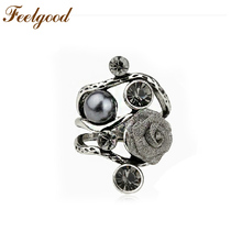 Feelgood Top Quality Antique SilverColor Vintage Jewelry Gray Crystal Faux Pearl And Rose Flower Finger Ring Women Rings