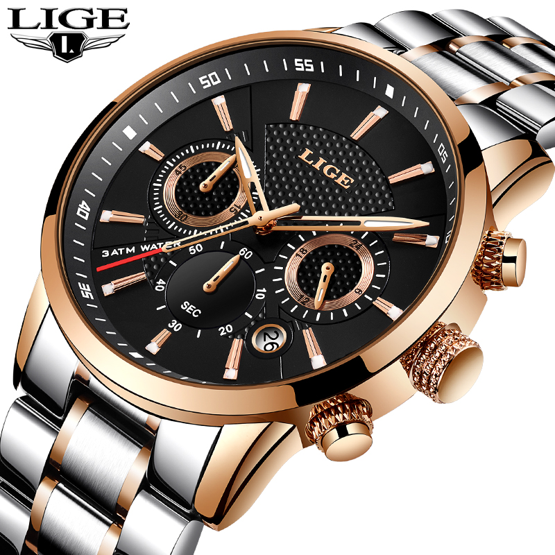 LIGE Men watch Luxury Brand Full steel Quartz watches Men Military Waterproof dress sport Man Fashion casual relogio masculino стоимость