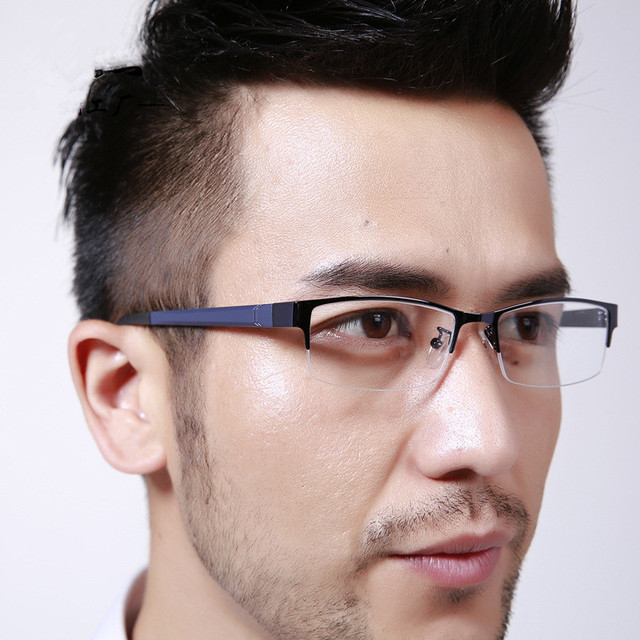 Mens Optical Frame Half Rimmed Blue Color Tr 90 Temple