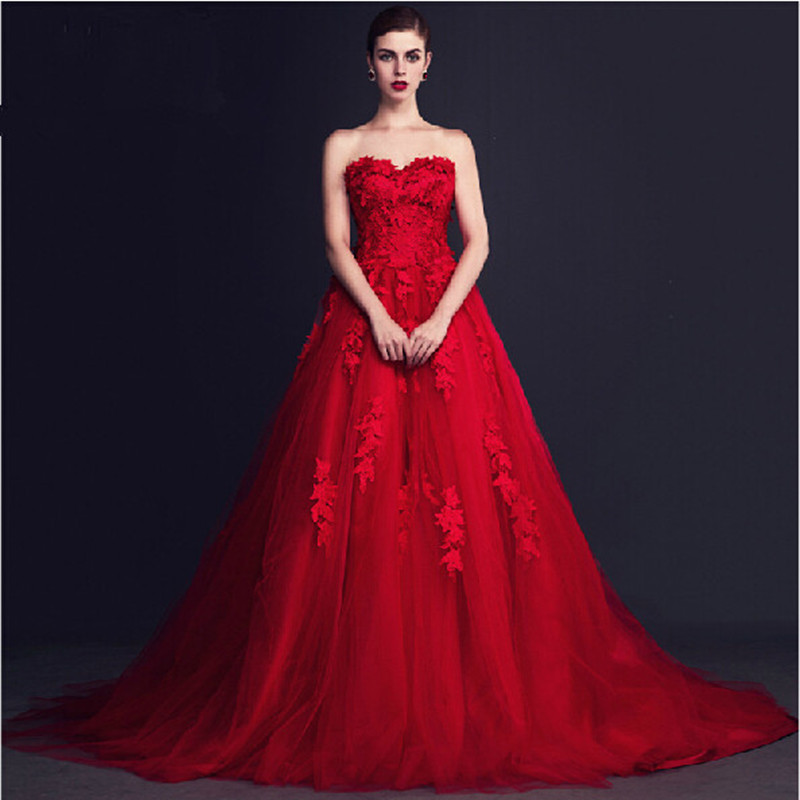 Designer Tulle Red Prom Dresses Fashion Ball Gowns