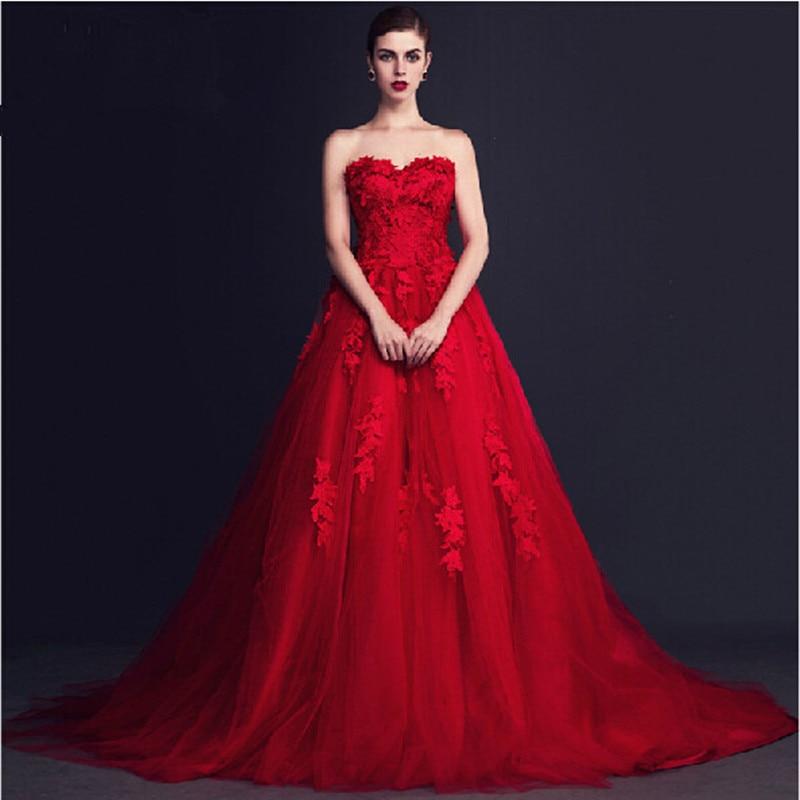 Designer tulle red prom dresses fashion ball gowns for Designer ball gown wedding dresses