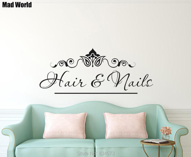 Mad World Personalised Name Beauty Hair Salon Shop Wall Art Sticker ...