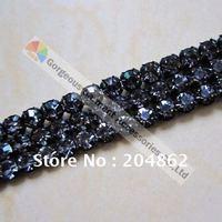 50 meter/stuk 3 rijen kristal strass mesh banding met Originele Tsjechische Zwarte Diamant voor trouwjurk & gebak