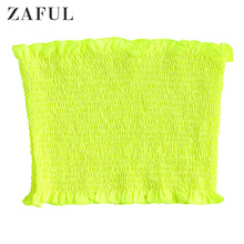 ZAFUL Neon Ruffle Trim Shirred Tube Top Summer Casual Women Ladies Strapless Skinny Short Elastic Bandeau Women Sexy Crop Top ruffle trim tie neck top
