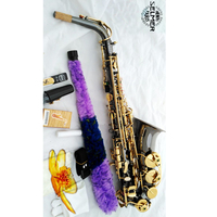 France Selma Selmer STS-802 Alto Saxophone Eb black nickel gold Carved Pattern Body with case,mouthpiece,reed,gloves.