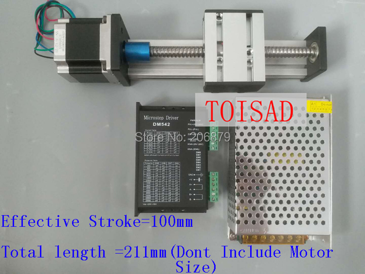 SG 100mm Effective Travel Length Stroke CNC Linear Guide Rail Nema 23 Stepper Motor Motor Driver