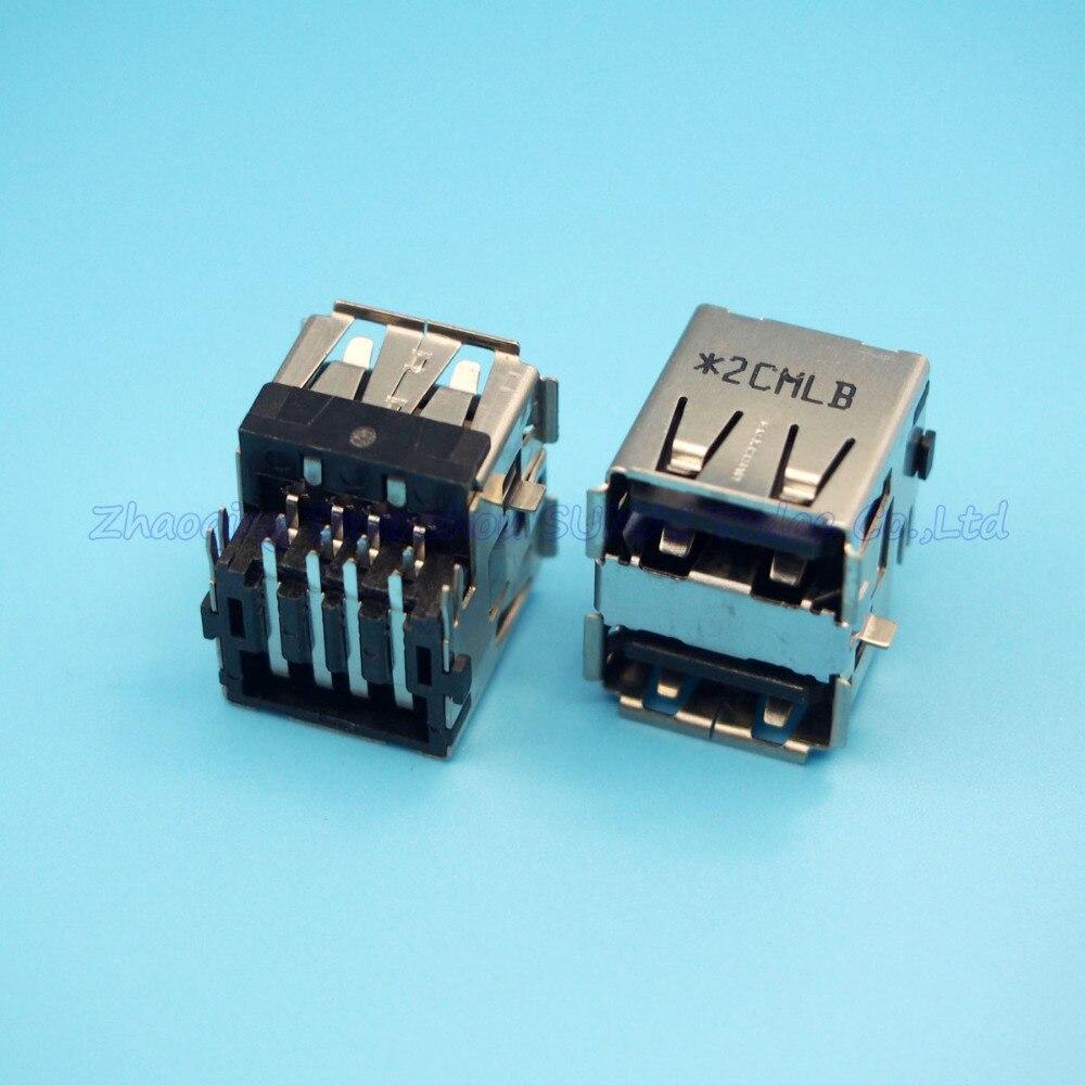 10pcs/lot double USB Jack USB wire socket USB Port for lap-top HP DELL etc