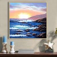Pinturas a óleo pintados à mão pintura da lona ondas do mar oceano azul água sol O sol nasce retratos da parede para sala de estar