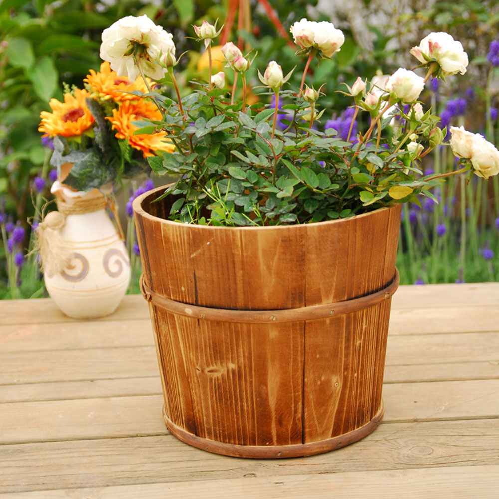 Wooden Flower Basin Flower Tub 19*18*15CM-in Flower Pots & Planters ...