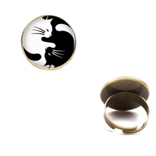 2019 new retro black white yin and yang cat glass ring female fashion charm DIY jewelry holiday party gift souvenir