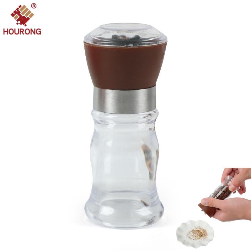 Hourong Salt Pepper Mill Grinder Pepper Grinders Shaker Spice Container Black Pepper Mill Kitchen Grinding Bottles Tools Gadget