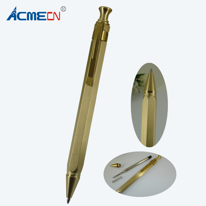 Newest 51g Brass Heavy Pen Hexagon Design Press Retractable Ballpoint Pen Hand-Made Craft Stationeries Unisex Push Ball Pen цена