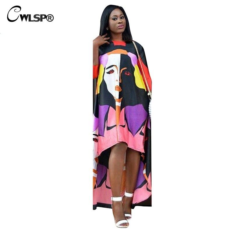 CWLSP 2018 Summer Dress For Women Character Printed Asymmetrical Floor Length Three Quarter Dress O-neck Vestidos Verano QZ2826