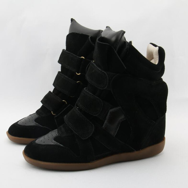 Chaussures femme autumn winter genuine leather plush ankle boots for woman height increasing high top cowboy boots buckle botas Chaussures femme autumn winter genuine leather plush ankle boots for woman height increasing high top cowboy boots buckle botas