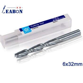 LEABON Diameter 6x32mm 2 Flute Spiral End Mill Tungsten Carbide Spiral Cutter CNC Engraving Router Bits
