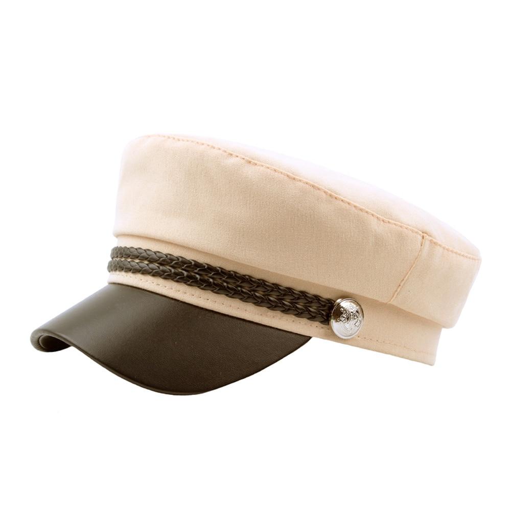 2018 Vintage Berets Frauen Britischen Stil Feste Farbe Patchwork Navy Kappe Mode Baskenmütze Gorro # Z