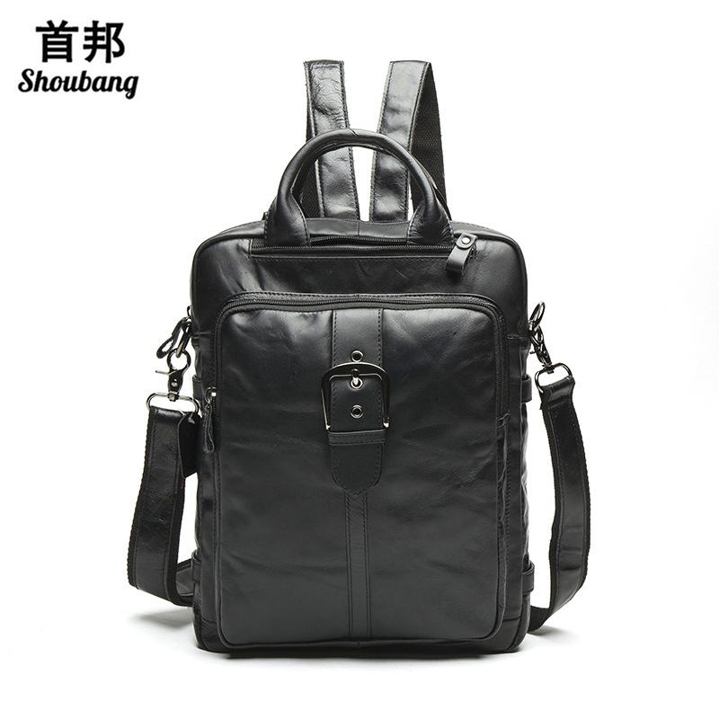 Men backpack genuine leather school bags large capacity travel bag multifunction men's shoulder bag 2017 backpack men comics anime batman backpack large capacity leather school bags cartoon animation hero bat men men travel bag mochila escolar