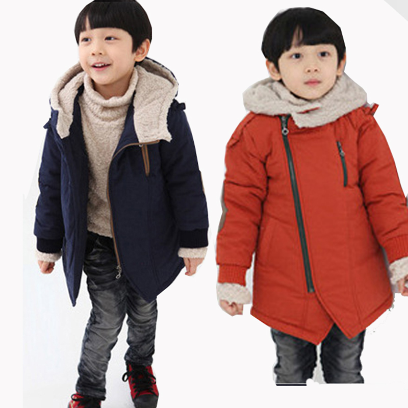 New 2018 Kids Boys Girls Winter Thick Hooded Down Wadded Jacket Outerwear Fleece Velvet Cotton-Padded Coats 6 7 8 9 10 Years russia winter baby grils boys down thick rompers children wadded jacket kids cotton padded fleece fur jumpsuits newborn overalls