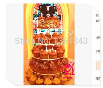 Hot selling free shopping/Clear birthday party decoration of tray 5 Tier Round Cupcake Stands Lucite Cake Stand For Maypole