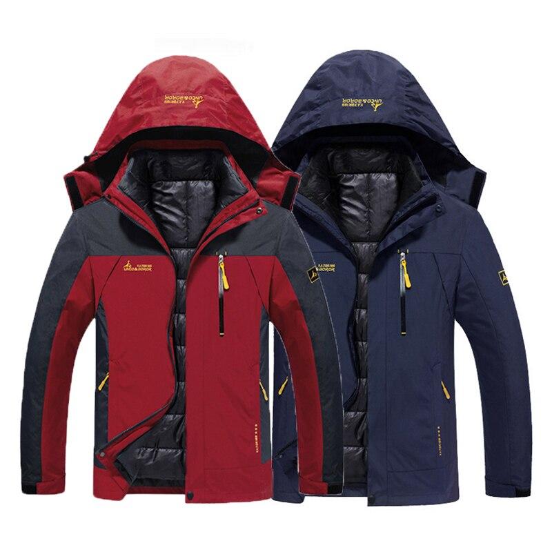 Oversize Men Winter Waterproof Fish Trekking Hiking Camp Ski Climb Warm Plus Size 3 In 1 Cotton Outdoor Jackets 6XL Coat Hood