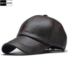 [NORTHWOOD] Высококачественная кожаная кепка для мужчин, однотонная зимняя бейсболка из искусственной кожи, брендовая бейсболка, кепка Bone Masculino, облегающие шапки
