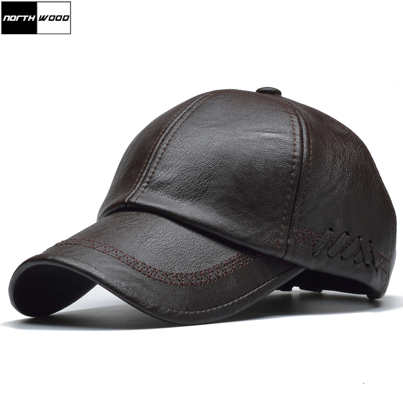 [NORTHWOOD] High Quality Leather Cap For Men Solid Winter Pu Leather Baseball Caps Brand Snapback Hat Bone Masculino Fitted Hats