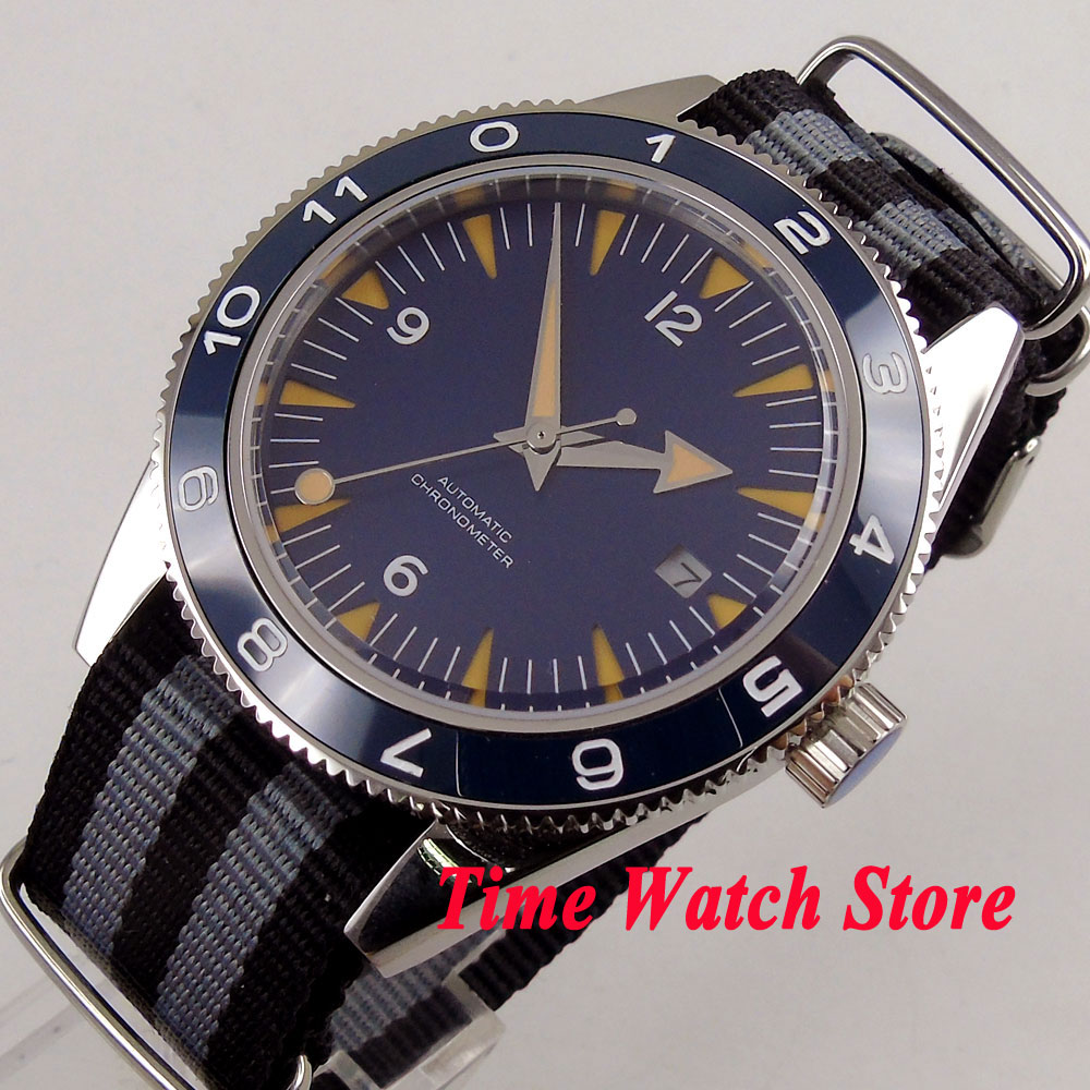 41mm Blue sterial dial Sapphire Glass black grey nylon strap 5ATM MIYOTA 821A Automatic mens watch DE8841mm Blue sterial dial Sapphire Glass black grey nylon strap 5ATM MIYOTA 821A Automatic mens watch DE88