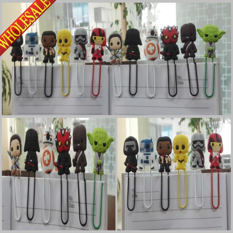 Hot Sale 12PCS Star Wars Bookmarks,Hot Cartoon Paper Clips,Magazine Label Reading Office Supplies Kids Best Gifts