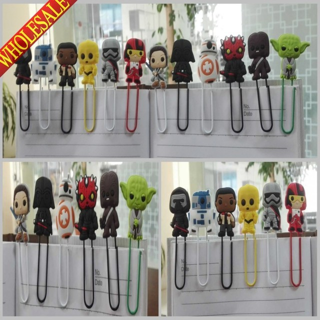 hot sale 12pcs star wars bookmarkshot cartoon paper clipsmagazine label reading office