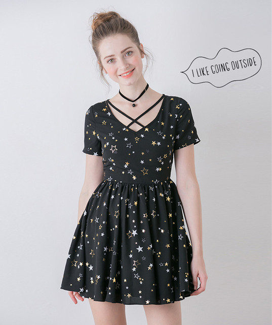 High Quality Summer Women Fashion High Waist Slim Waist V Neck Dress Sweet Black Little Stars Print One Piece Dress Soft Sister by Ali Express