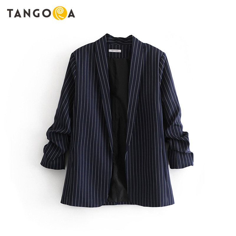 Striped korean office suits for women crinkled sleeve blazers and jackets 2019 autumn ladies long plus