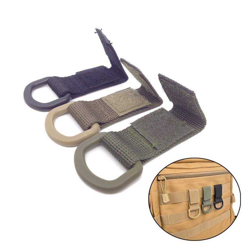 Tactical Nylon Molle Webbing Belt D-Ring Carabiner Buckle Outdoor Camping Hiking Backpack Keychain Hanger Key Hook