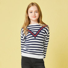 Balabala Girls Sweater 2018 Spring Autumn Soft Cotton Cute Children Sweater Wild Color Stripes V-neck New Classic Pretty Girl(China)