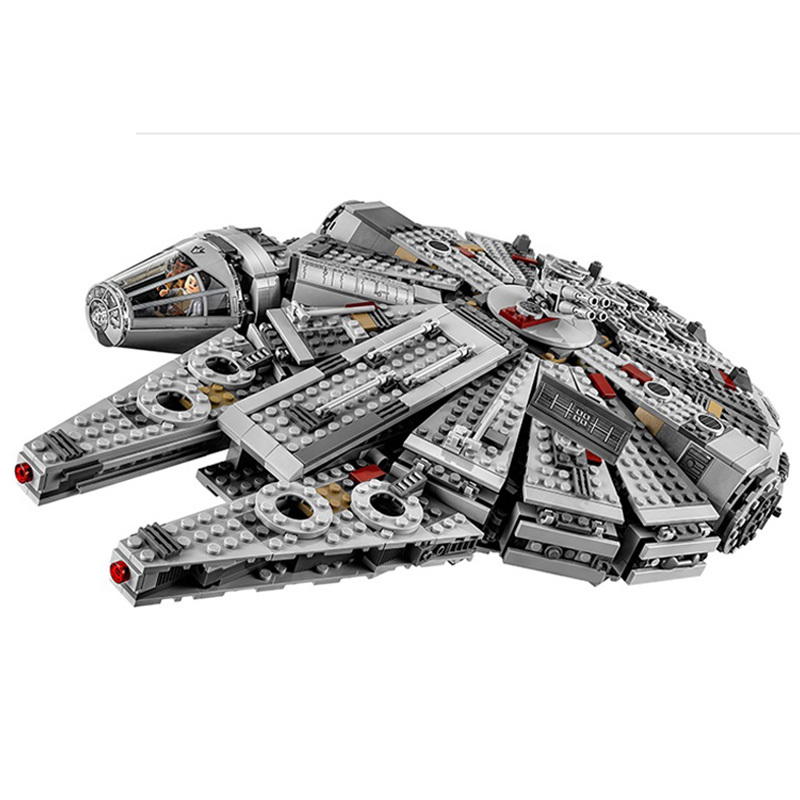 1381pcs Diy Star Wars Millennium Falcon Outer Space Space Ship Building Blocks Compatible With Legoingly Brick Toys For Children [yamala] star wars 7 1381pcs millennium falcon force awakening building blocks toys for children toys compatible with lepin