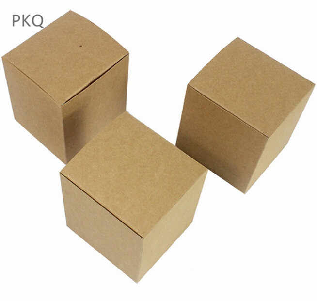 5pcs 4 sizes brown Carton Kraft Paper square paper Box,small white cardboard paper packaging box,Craft Gift Soap Packaging box