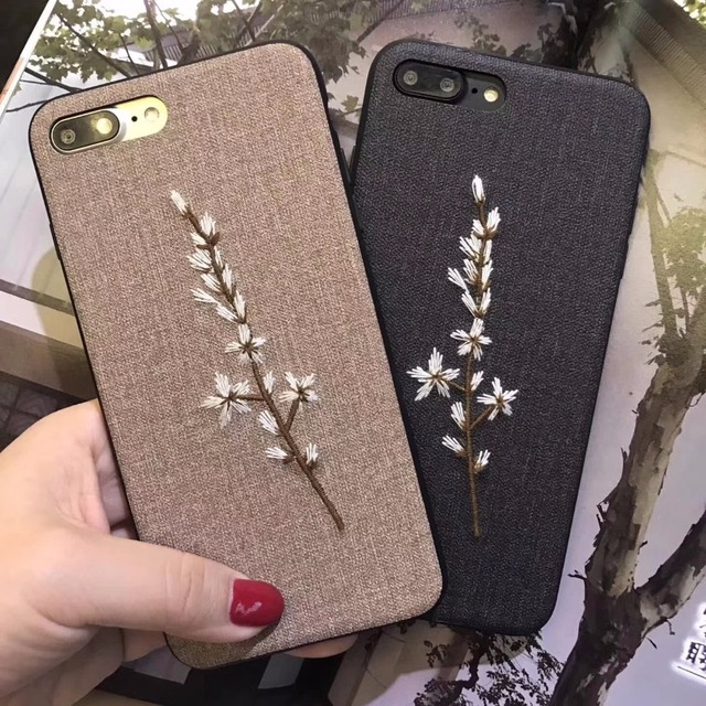 DOYAEL for iPhone 7 7plus 3D Embroidery Phone Case Coque Leaf Style Phone Back Cover for iPhone 8 8 Plus 6 6s Plus Shell Capa