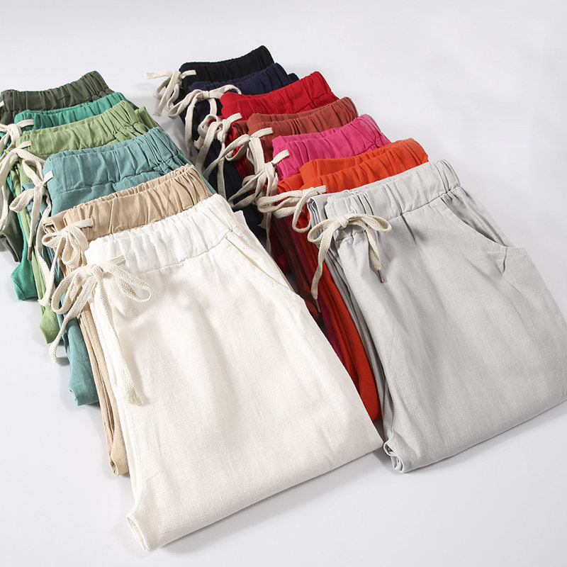 Candy Colors Summer Pants Women Lace Up Pantalon Femme Cotton Linen Sweatpants Casual Harem Pants Women Ladies Trousers C5212-in Pants & Capris from Women's Clothing