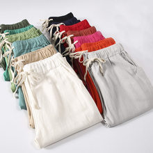 Pantalon dété pour Femme, Pantalon en lin, coton, Pantalon de survêtement aux couleurs acidulées, à lacets Harem, C5212, collection décontracté
