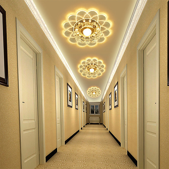 5W Flower Crystal Flush Mounted Art Ceiling Light 4 Modes Living ...