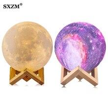 Nachtlampje 3D Afdrukken Maan Ster Lamp Lunar Usb Opladen Nachtlampje Touch Control Helderheid Twee Tone 8Cm 10cm 15Cm