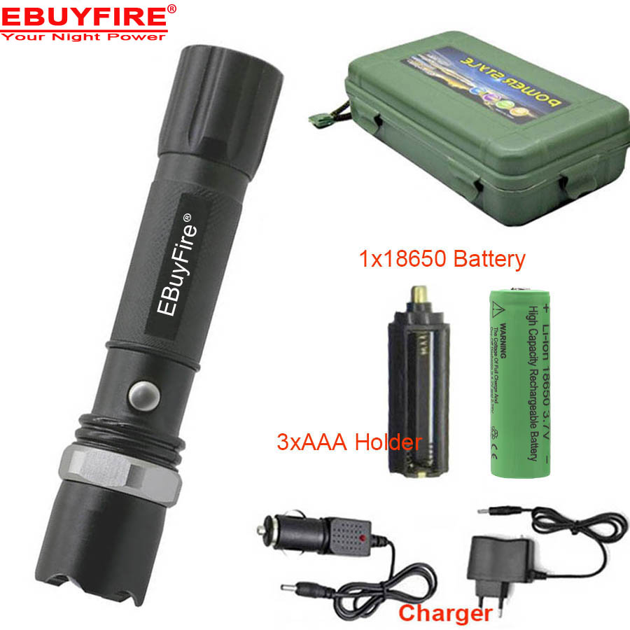 Rechargeable Flashlight light 2000lm Q5 torch lampe torche flashlight dedicated 18650 battery+ AC + Car Charger BOX