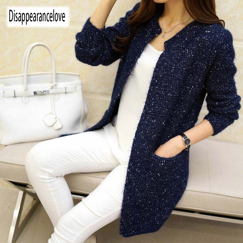 Autumn Winter Women Casual Long Sleeve Knitted Cardigans 2019 New Crochet Ladies Sweaters Fashion Tricotado Cardigan