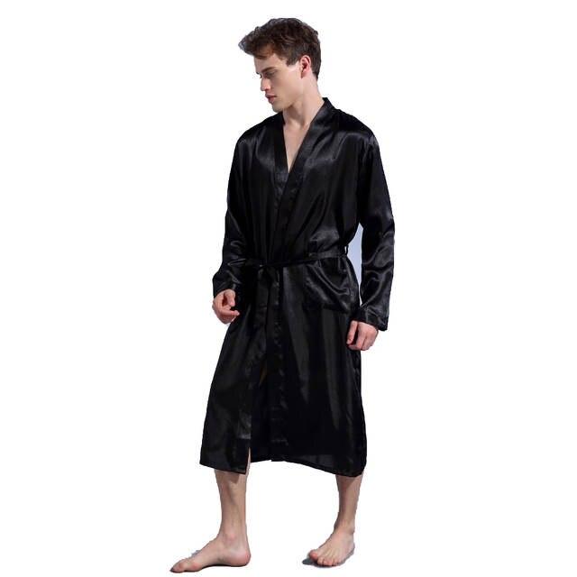 Black Loose Leisure Men s Rayon Satin Robe Gown Solid Kimono Bathrobe  Casual Nightwear Sleepwear Pajamas S M L a76e3e30f