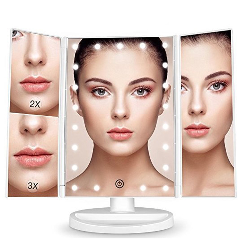 22 LED Lights Touch Screen Makeup Mirror Light Bright Table Desktop Makeup Magnifying Mirrors 3 Folding Adjustable Mirror22 LED Lights Touch Screen Makeup Mirror Light Bright Table Desktop Makeup Magnifying Mirrors 3 Folding Adjustable Mirror